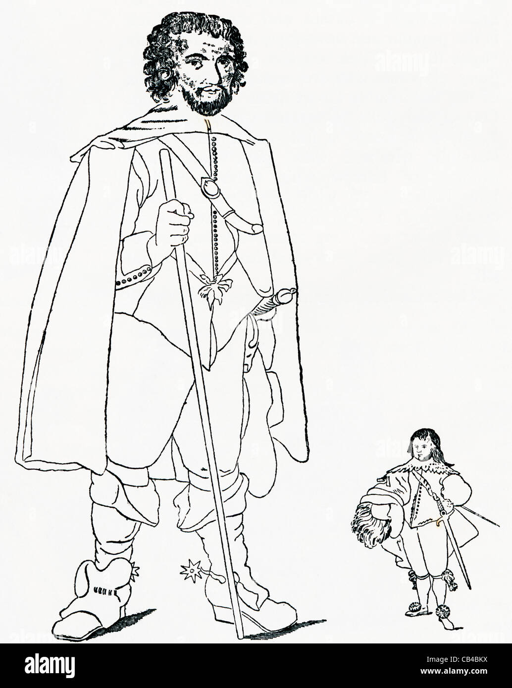 """Walter Parsons, aka The Staffordshire Giant with Sir Jeffrey Hudson famous as the """"Queen's dwarf"""" and """"Lord Minimus"""". Stock Photo"""
