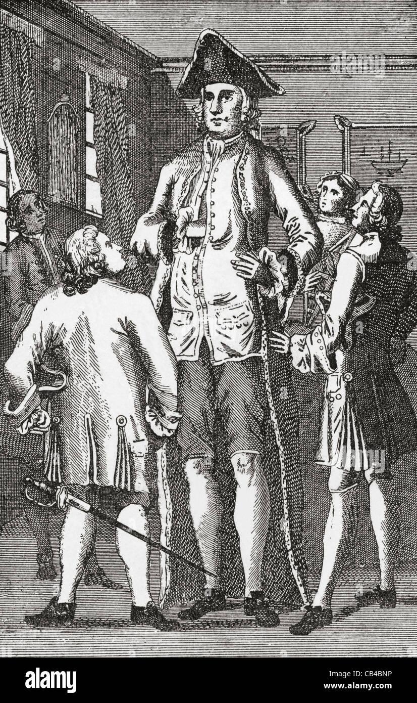 Henry Blacker, 1724 - ? aka The British Giant. Stock Photo