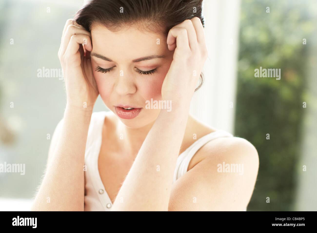 Girl stressed Stock Photo