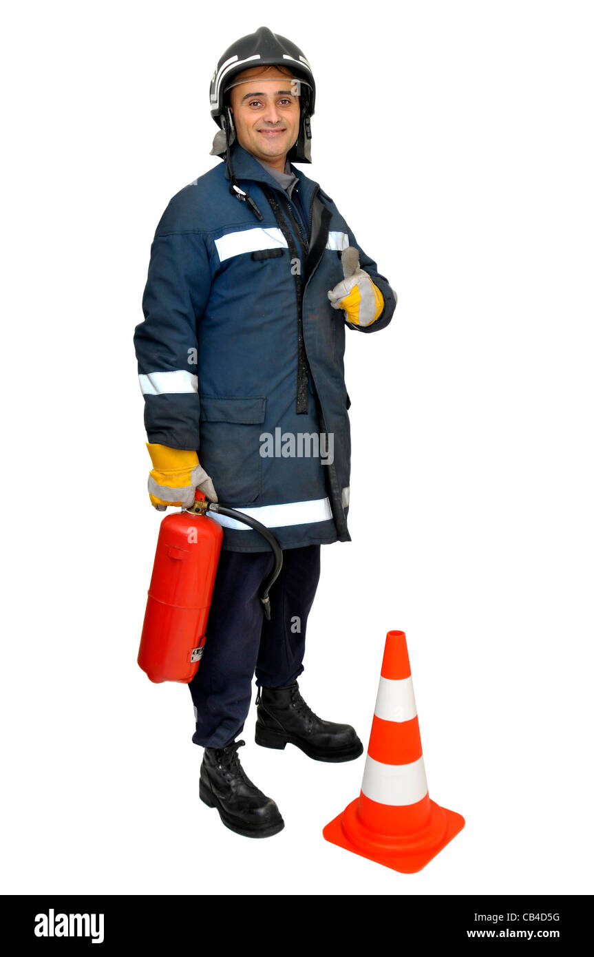 Fireman with extinguisher isolated in white - Stock Image