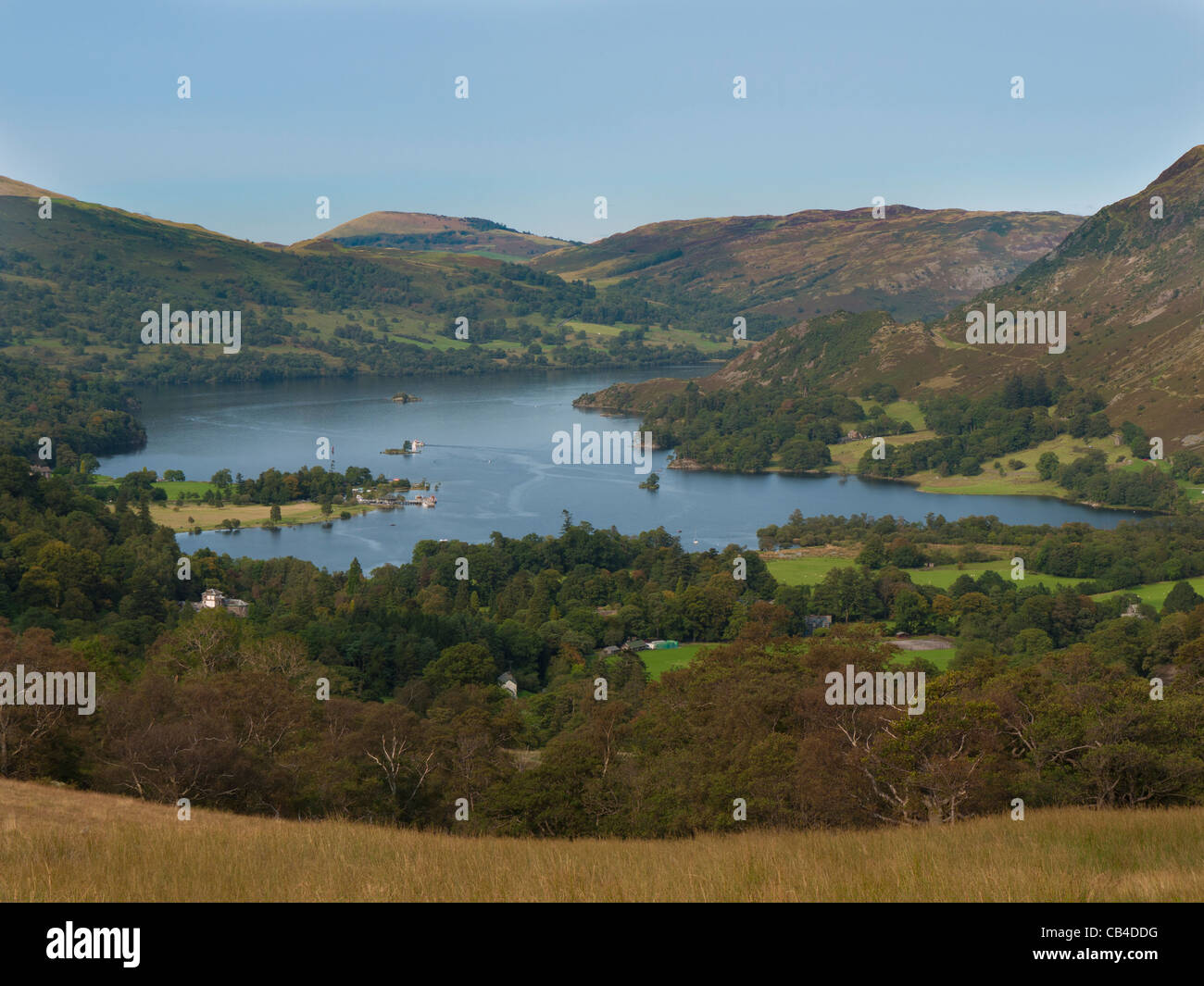The view north up Ullswater Lake from Glenamara Park on the way down from Birks fell and St Sunday Crag Stock Photo