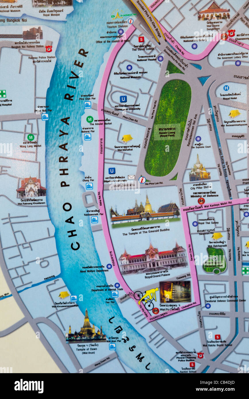 Thailand Bangkok Map of Main Tourist Attraction Stock Photo