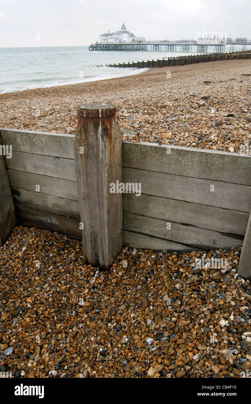 break water breakwater waters breakwaters brake brakewaters brakewater eastbourne uk costal erosion stone stones - Stock Image