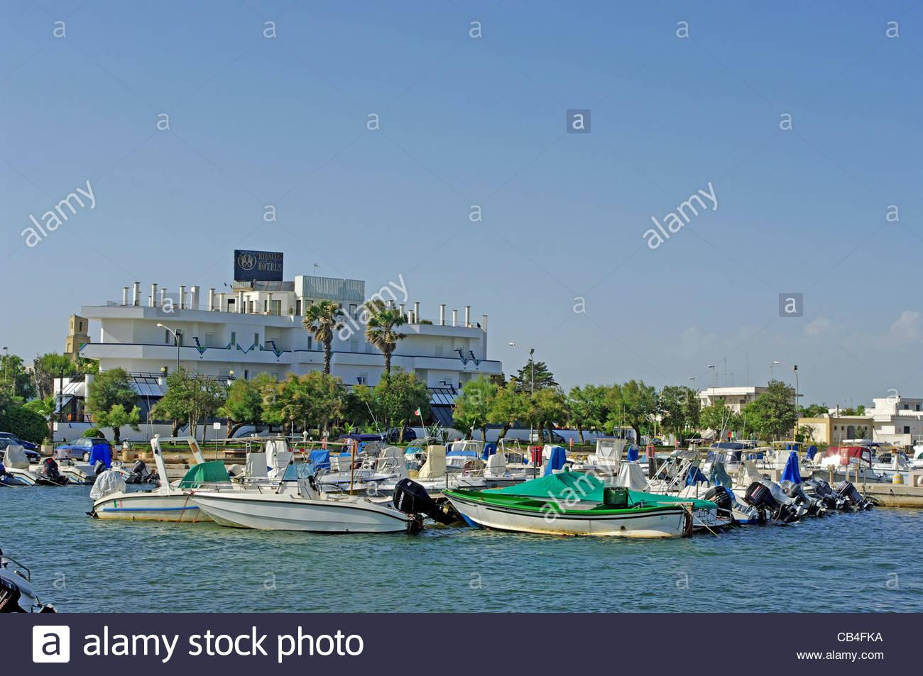 Motor Boats Pesca Turismo Puglia Southern Italy - Stock Image