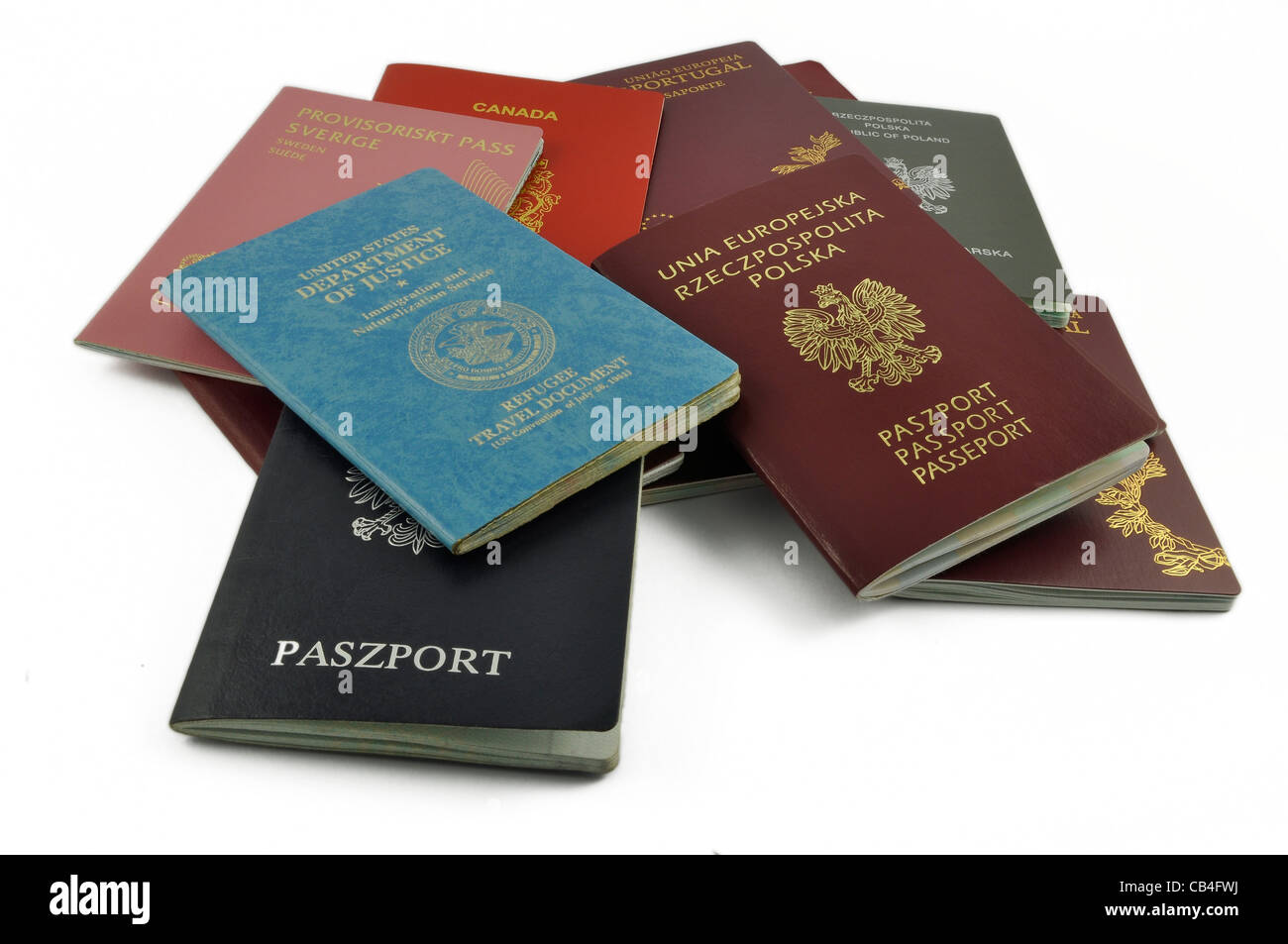 different, other travel documents isolated - Stock Image