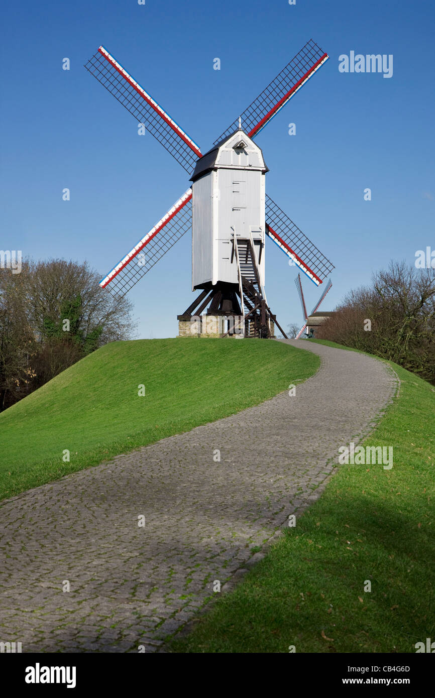 The wooden windmill Bonne Chiere in Bruges, Belgium - Stock Image