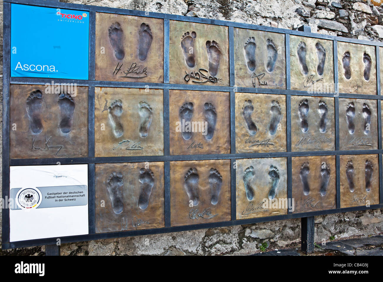 Footprints of the German national team as a reminder of their stay on the occasion of Euro 2008 in Ascona, Ticino, - Stock Image