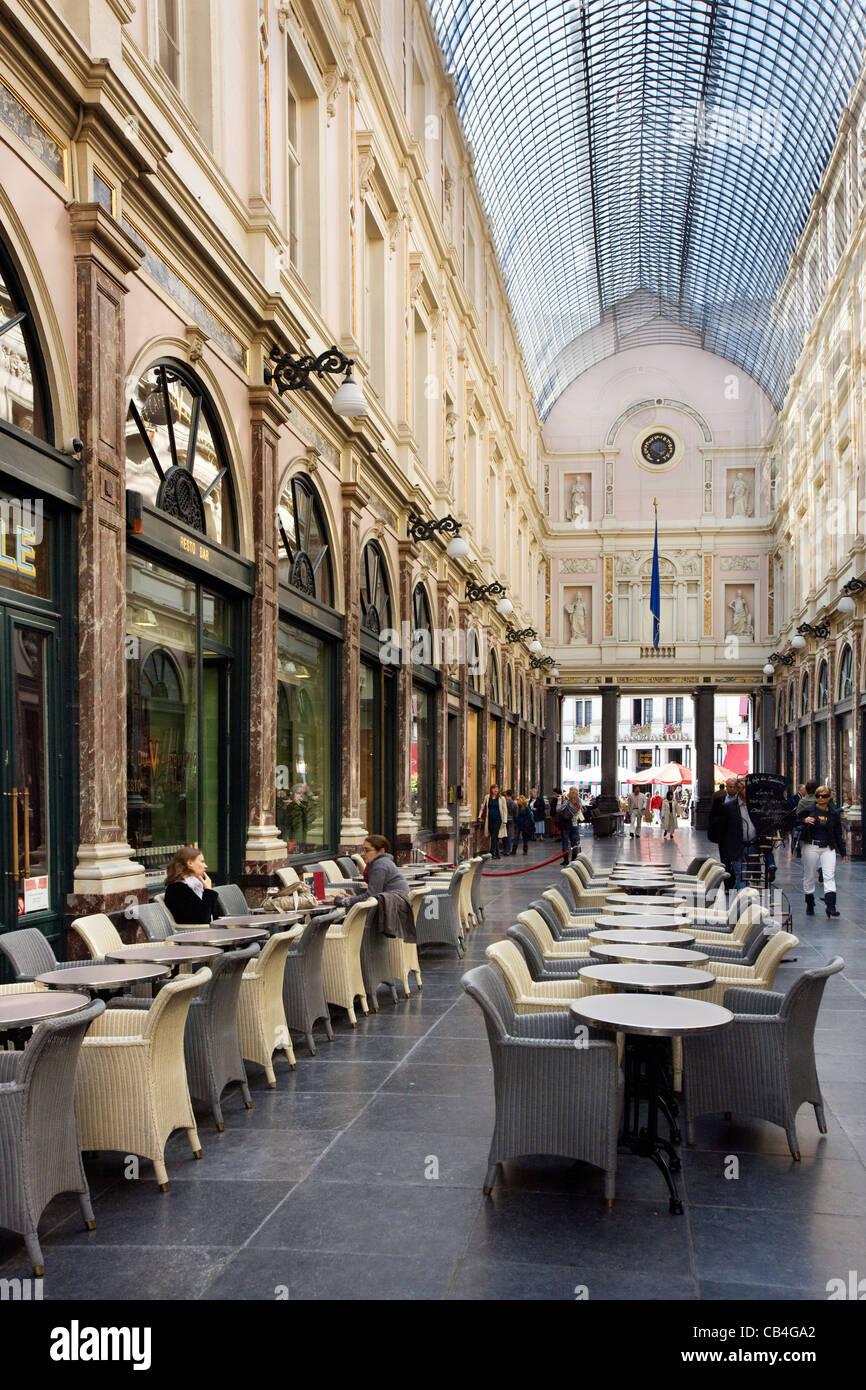 Queen's Gallery / Galerie de la Reine, part of the Galeries Royales Saint-Hubert in Brussels, Belgium - Stock Image