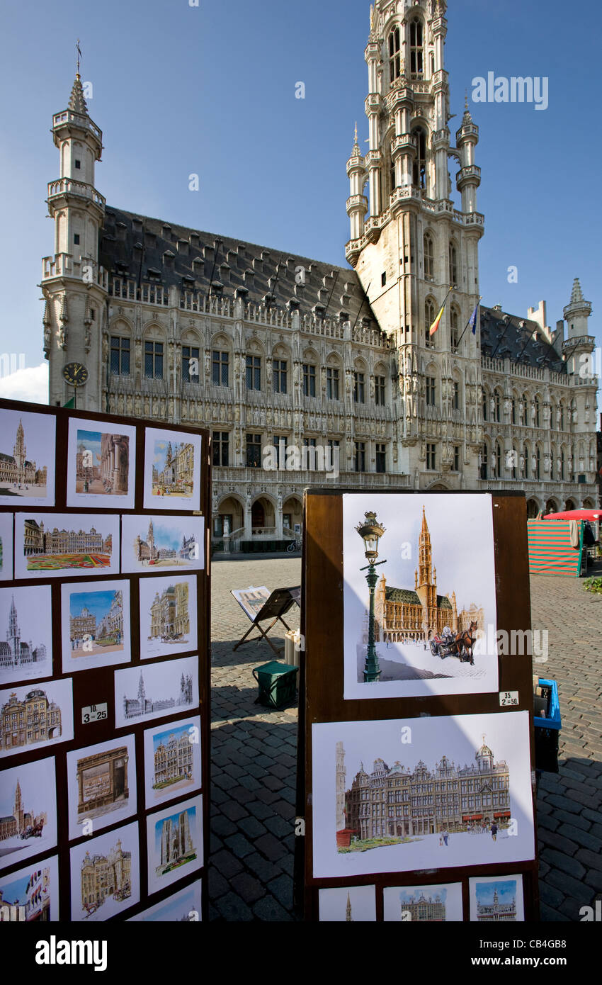 Drawings of the city Brussels and Town Hall at the Grand Place / Grote Markt, Belgium - Stock Image