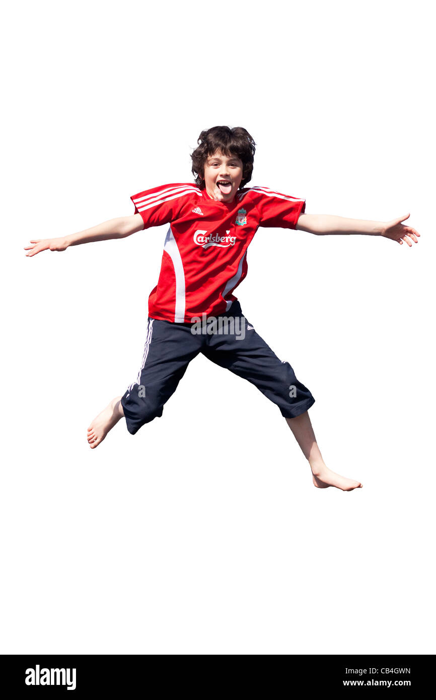 Leaping boy cut-out - Stock Image