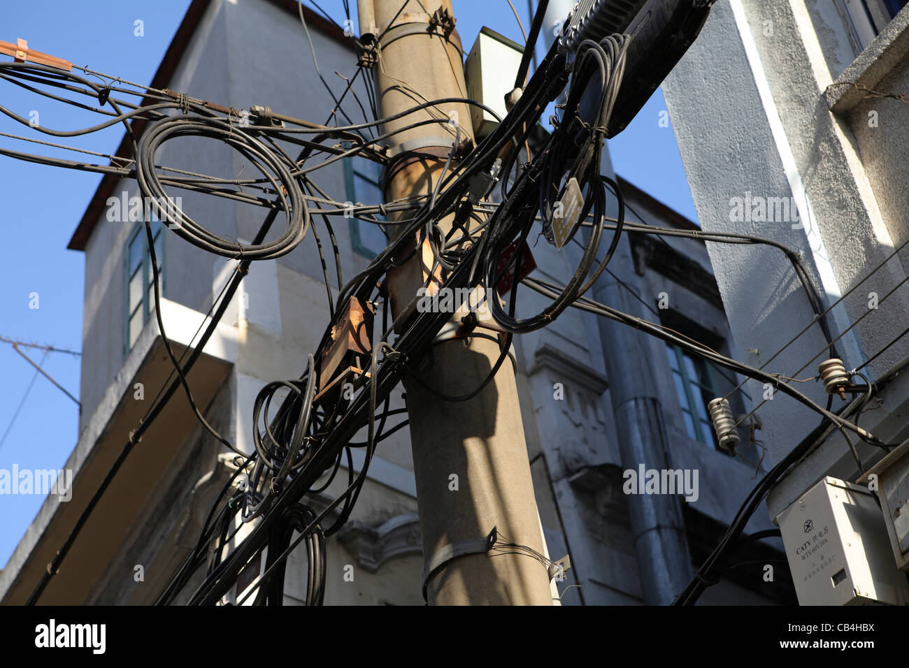 Looking Up Messy Unsafe Wiring On Lamp Post Xiamen China Asia