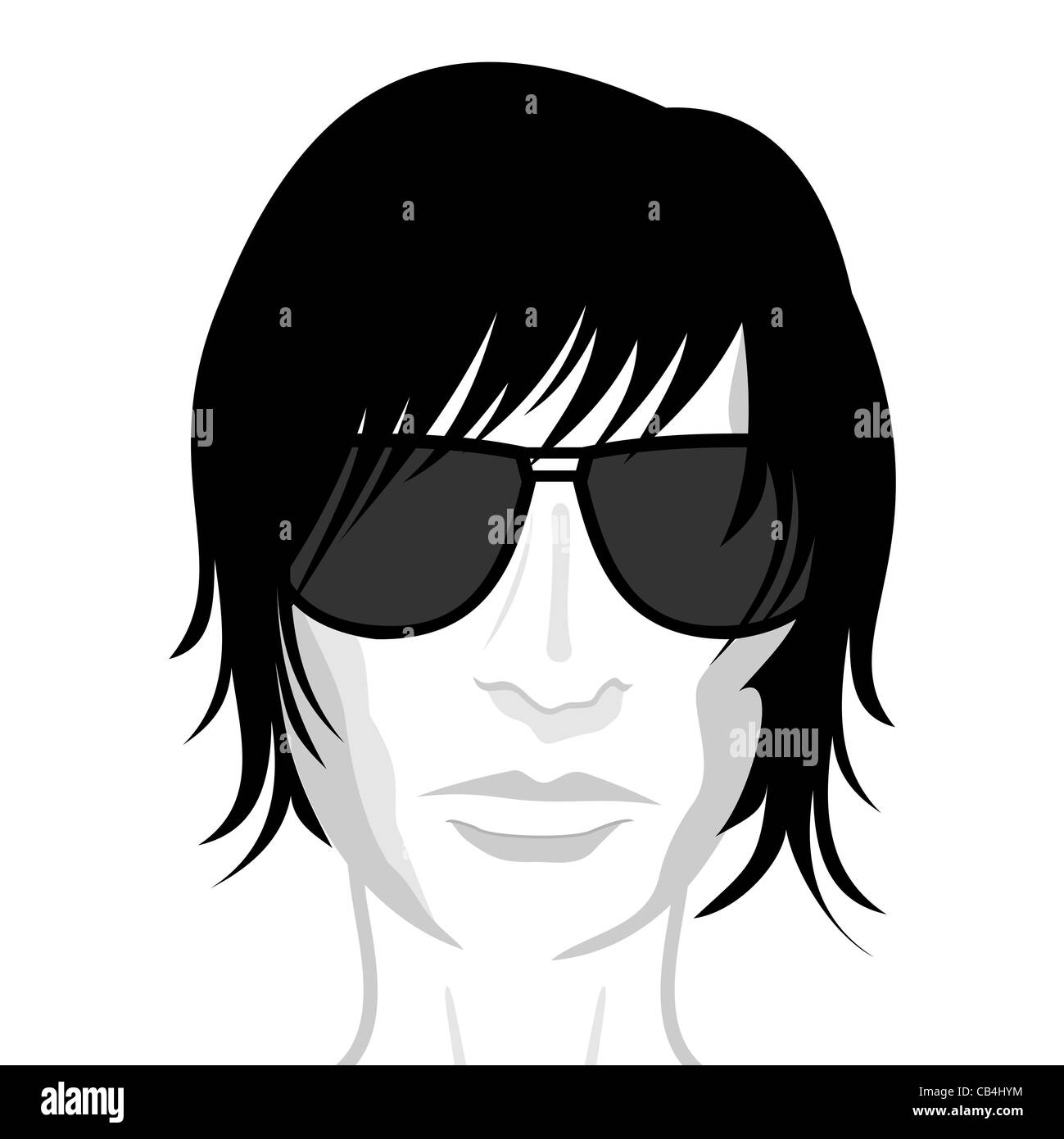 Illustration of face young man, design element - vector - Stock Image