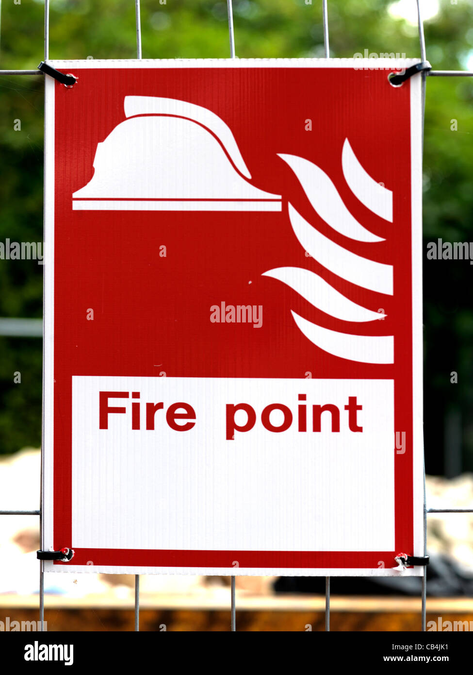 Safety Sign On A Construction Site Fire Point - Stock Image