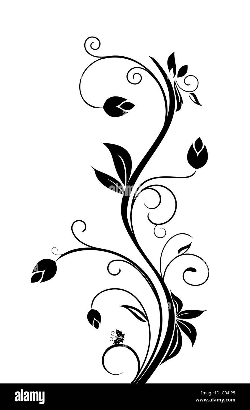 Illustration flourish background, floral elements. Vector - Stock Image