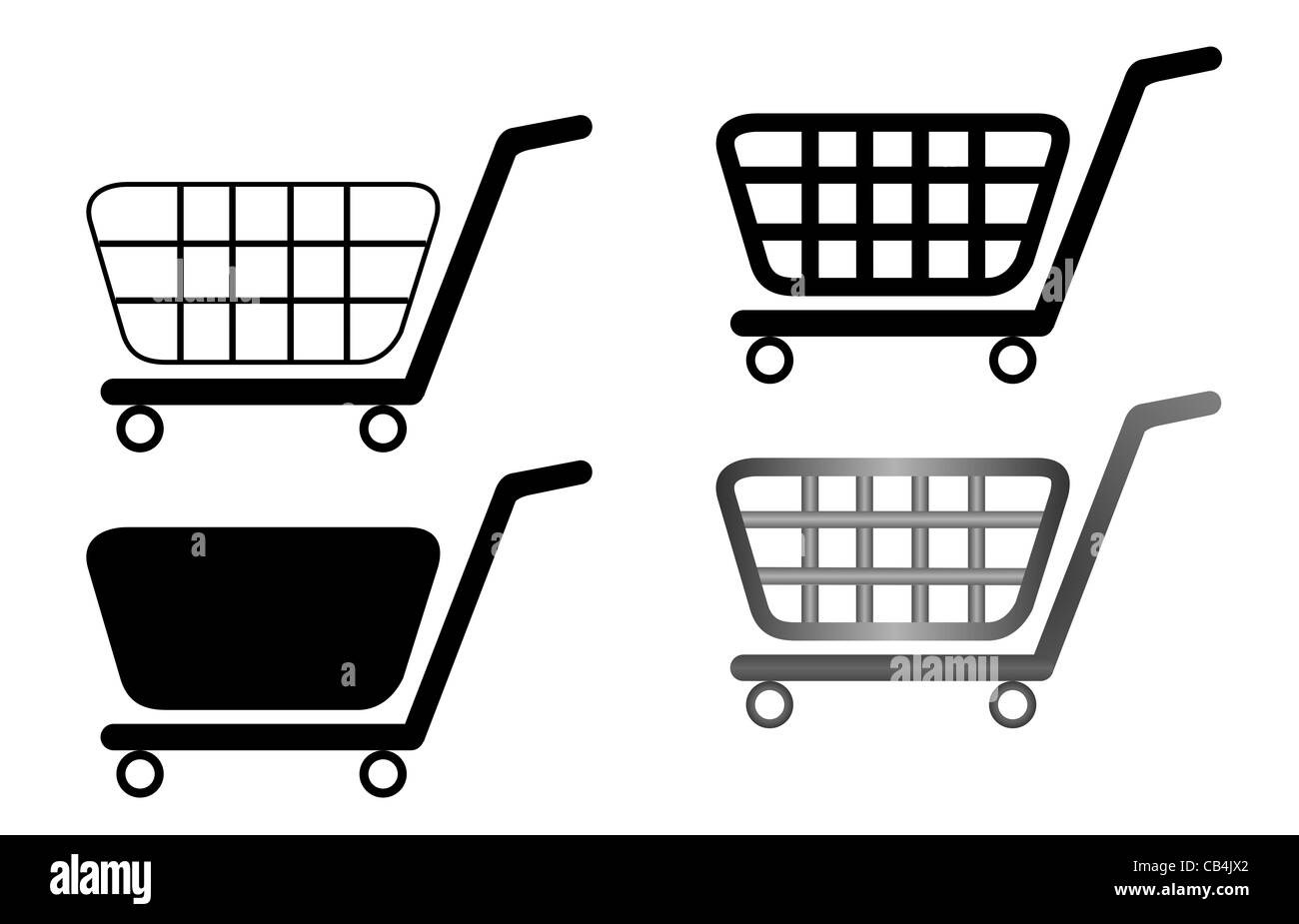 Vector illustration of shopping carts are isolated on white background - Stock Image