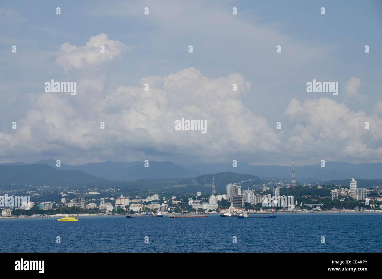 Russia, Sochi. Seaside port area along the Black Sea. - Stock Image