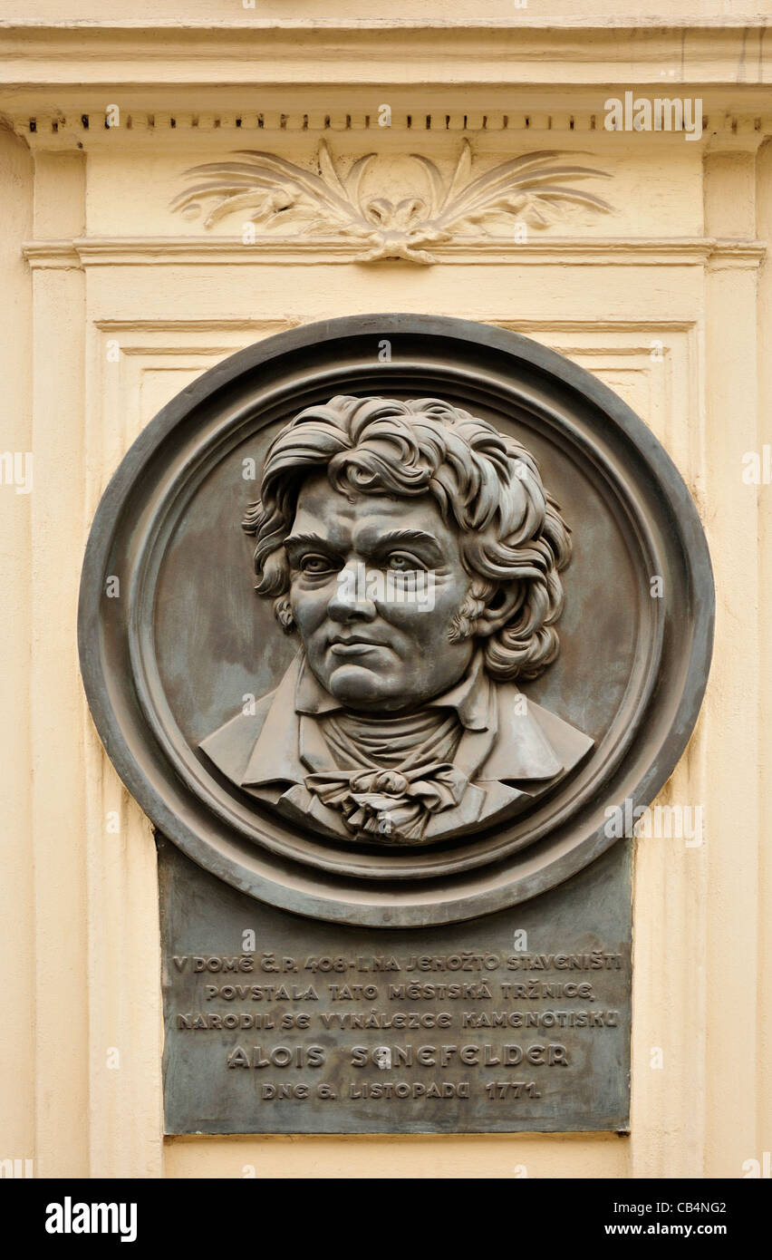 Prague, Czech Republic. Commemorative plaque to Alois Senefelder (1771-1834) inventor of Lithographic printing (in - Stock Image