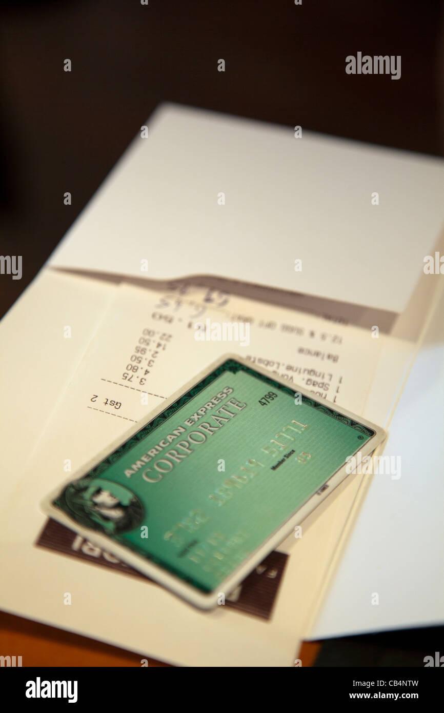 American Express Corporate Card on Restaurant Bill Stock Photo - Alamy