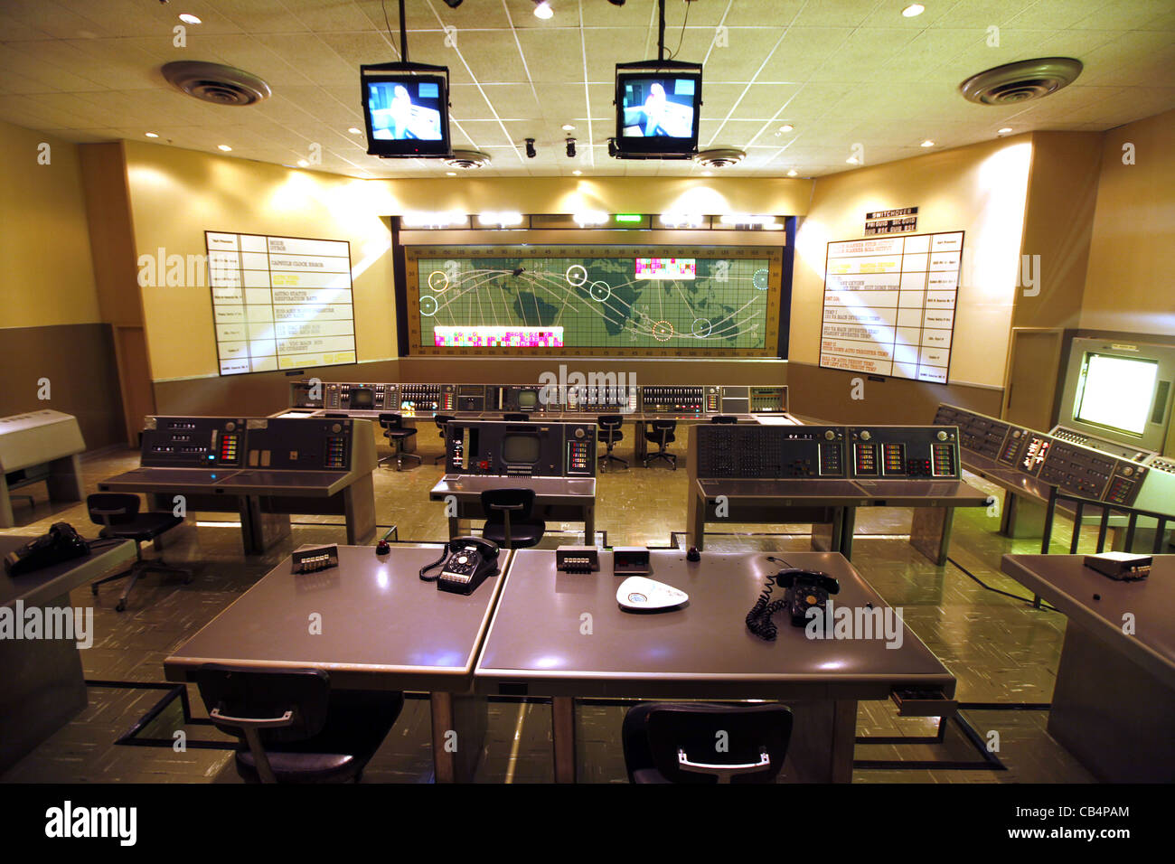 Kennedy Space Center - Mercury Mission Control consoles - Stock Image