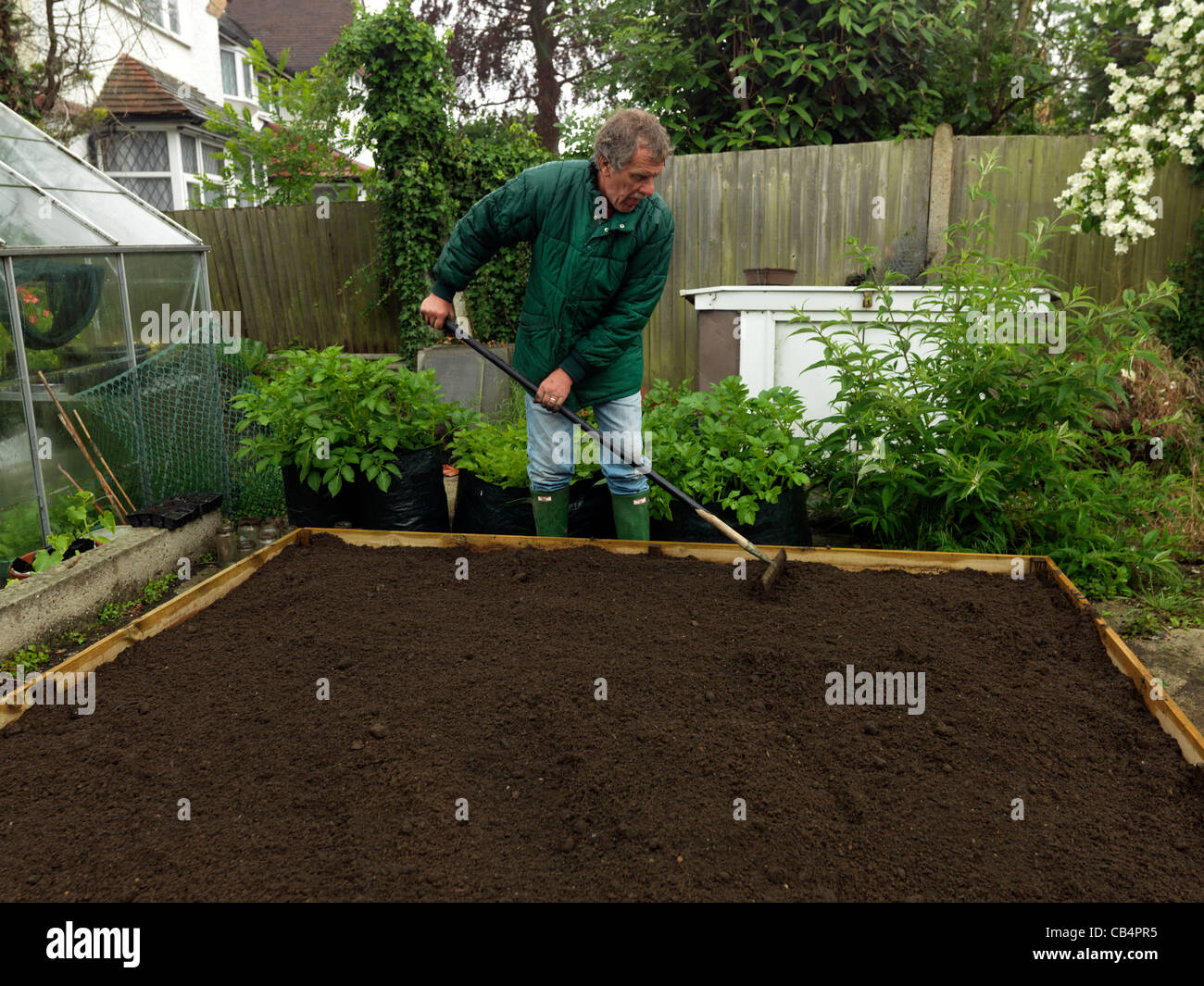 Man Making a Raised Bed Raking the Soil Prior to Planting the Seed ...