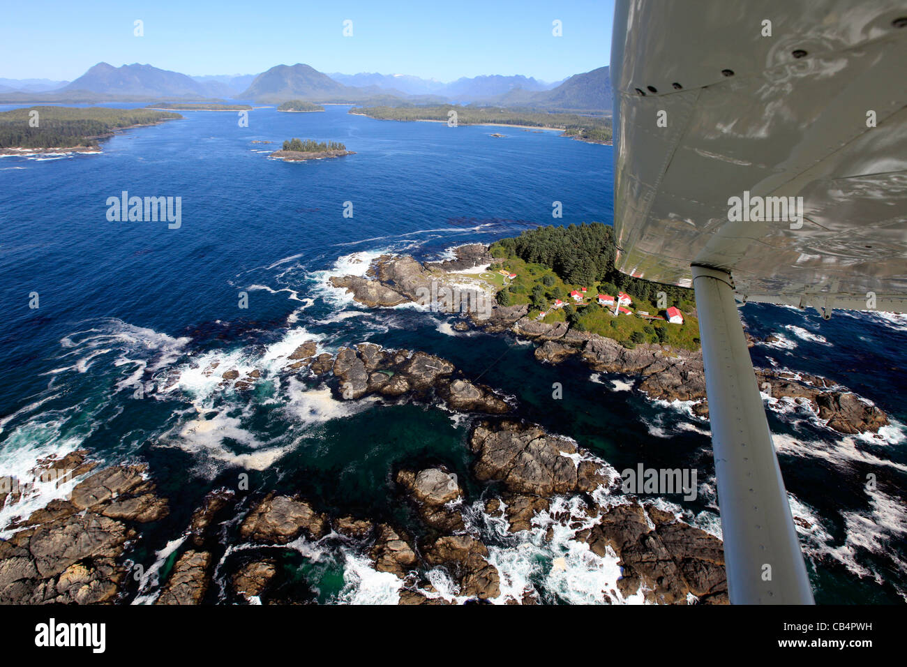 Flying over the Vancouver Island coast by floatplane on a scenic flightq - Stock Image
