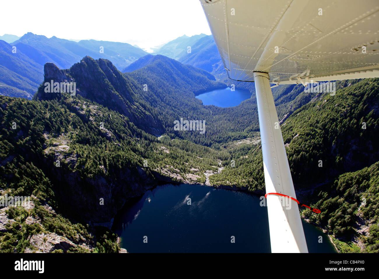 Flying over Paradise Lake, Vancouver Island Stock Photo