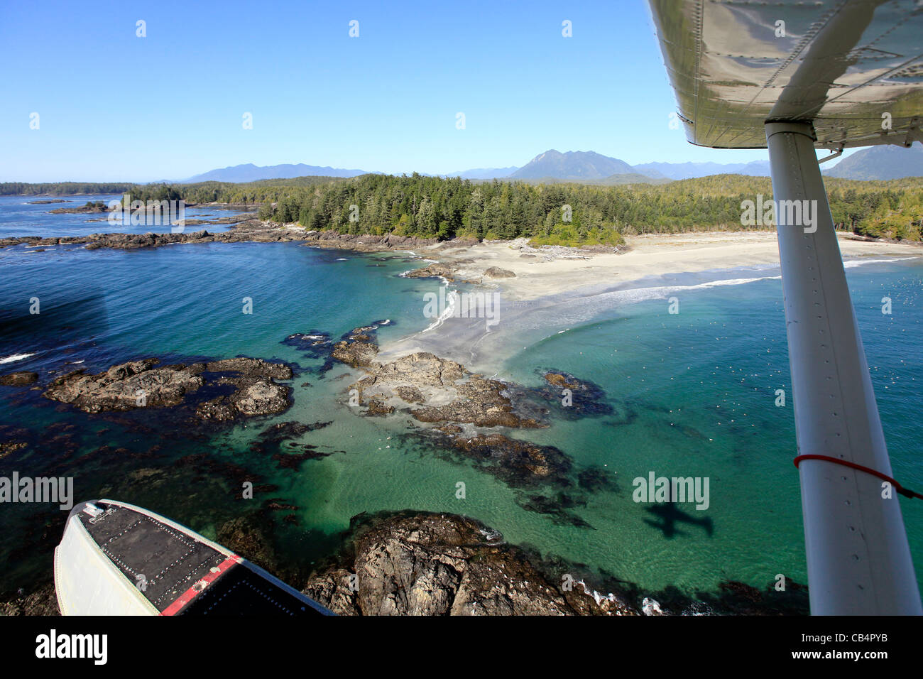 View of Tofino by floatplane on Vancouver Island in British Columbia, Canada - Stock Image