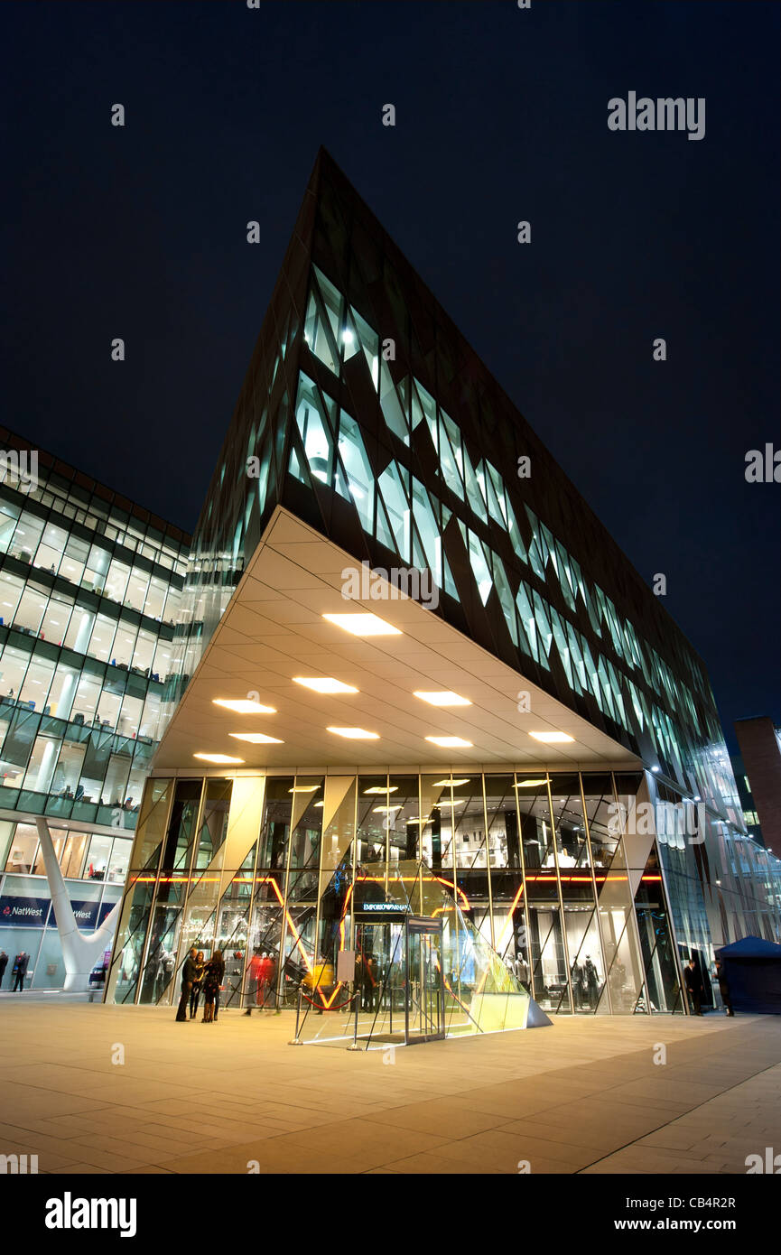 The Emporio Armani retail store shop in Spinningfields, Deansgate, Manchester. - Stock Image