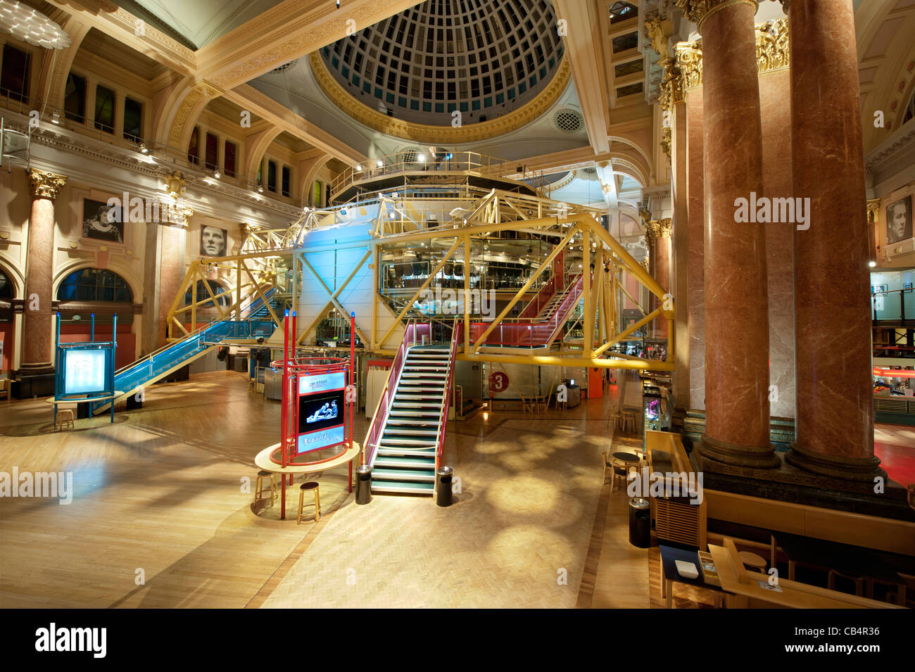 The inside of the Royal Exchange Theatre performance venue in Manchester. - Stock Image