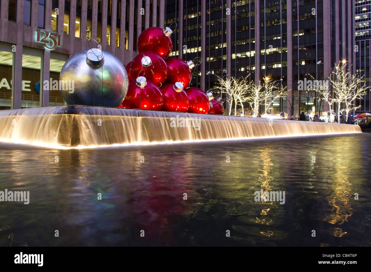 Giant Christmas Ornaments, Reflecting Pool, 1251 Avenue of the Americas, NYC
