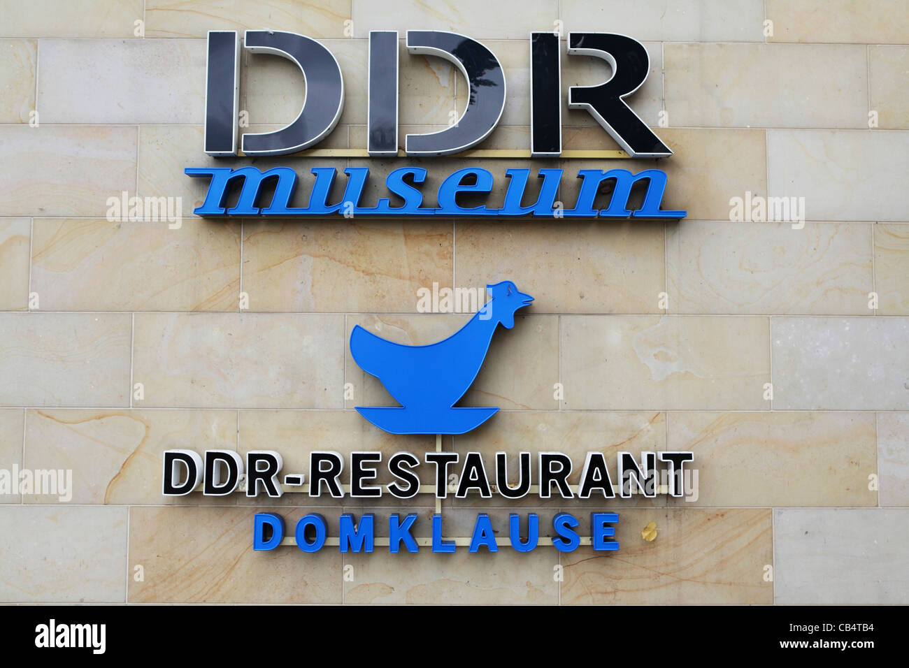 Sign for the DDR Museum and DDR Restaurant in Berlin, Germany. - Stock Image