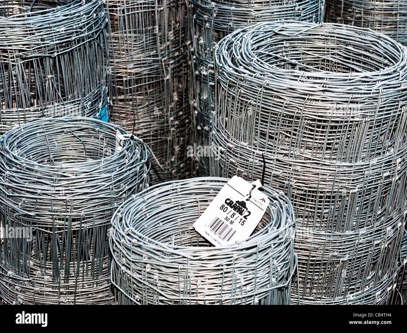 Rolls of galvanized wire garden netting at garden center / builder\'s ...