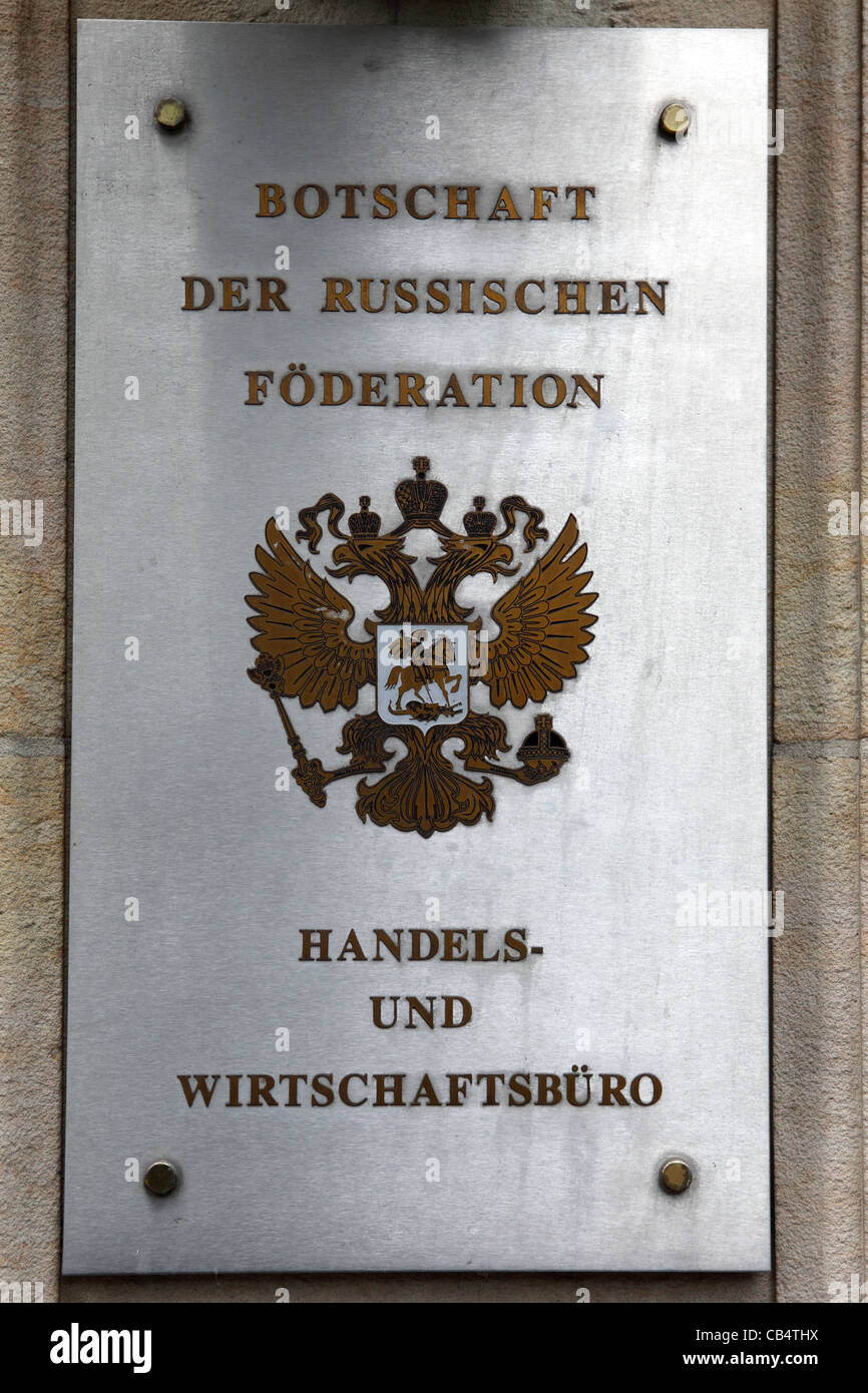 A sign for the Embassy of the Russian Federation in Berlin, Germany. - Stock Image