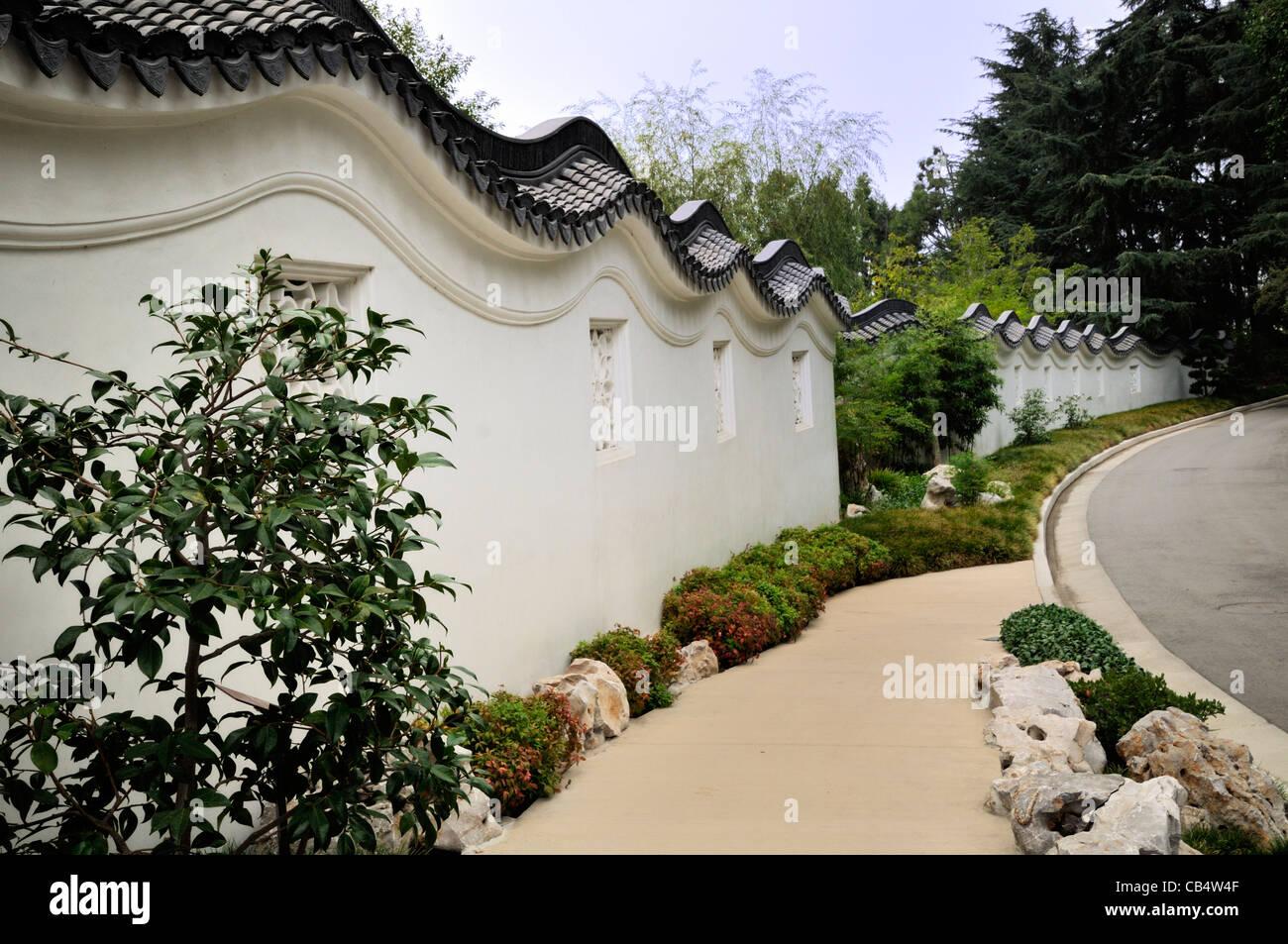 Wall in the Chinese garden, Huntington Botanical Garden, San Marino, California - Stock Image
