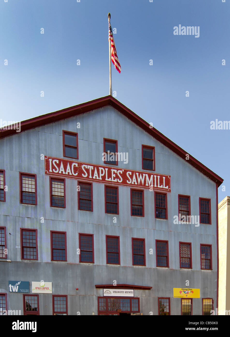 Isaac Staples Sawmill is a shopping mall located in the historic sawmill building in Stillwater, Minnesota - Stock Image