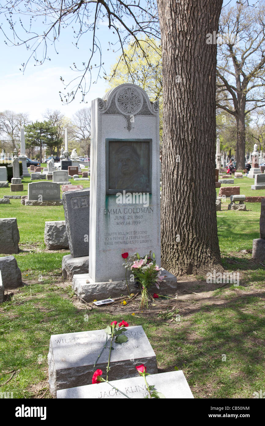 Grave of Emma Goldman. Forest Home Cemetery. Forest Park, Illinois. Birth and death dates are incorrect, see description. - Stock Image