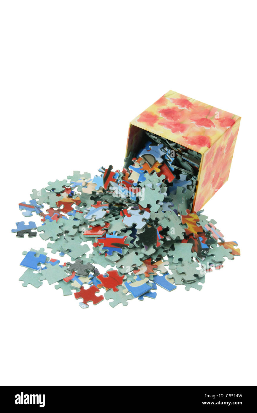 Box of Jigsaw Puzzle Pieces - Stock Image