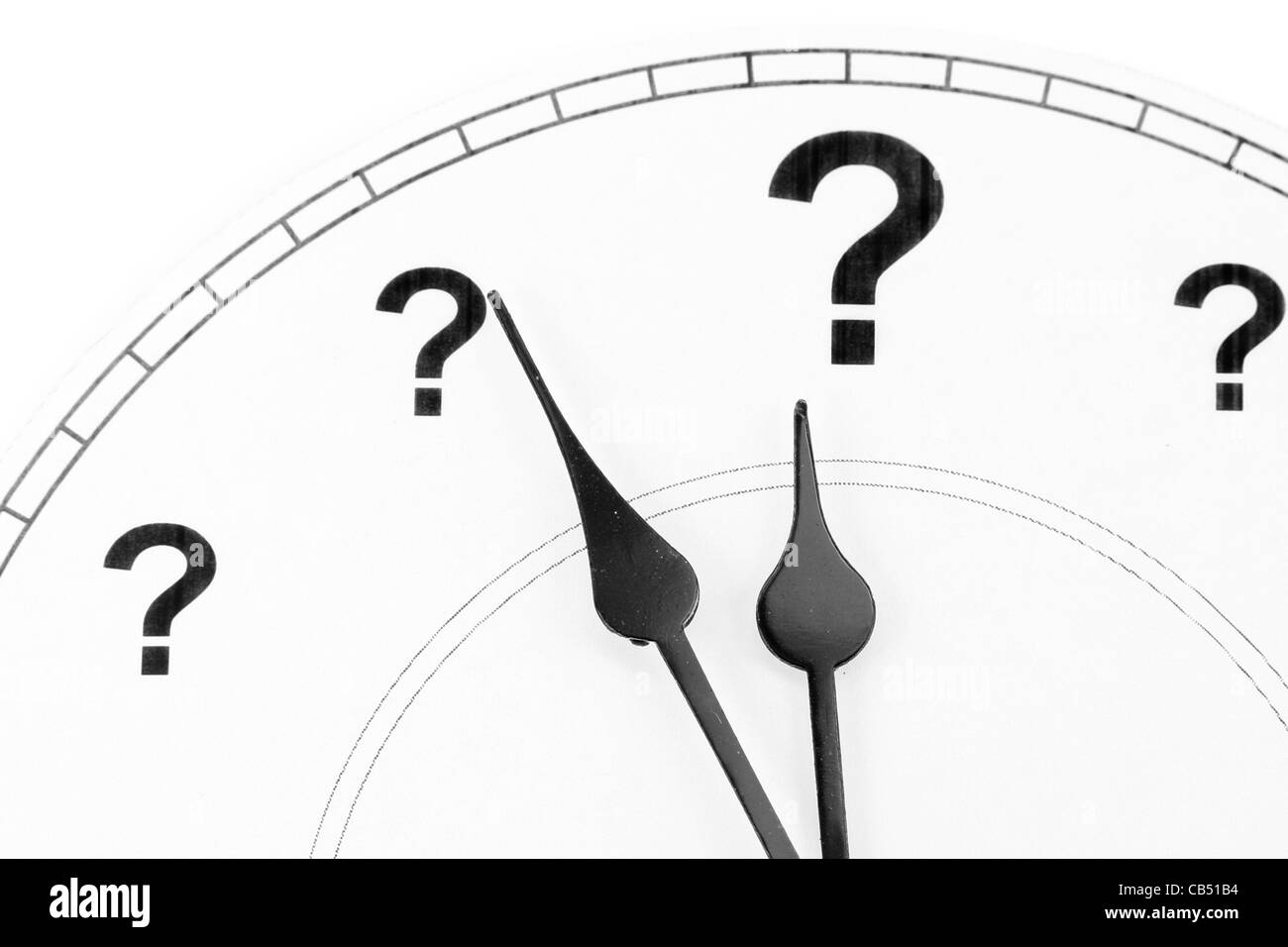 question mark clock, concept of time - Stock Image