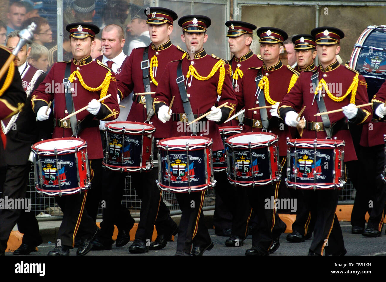 A loyalist band playing at  an Apprentice Boys of Derry parade, Londonderry, Northern Ireland. - Stock Image