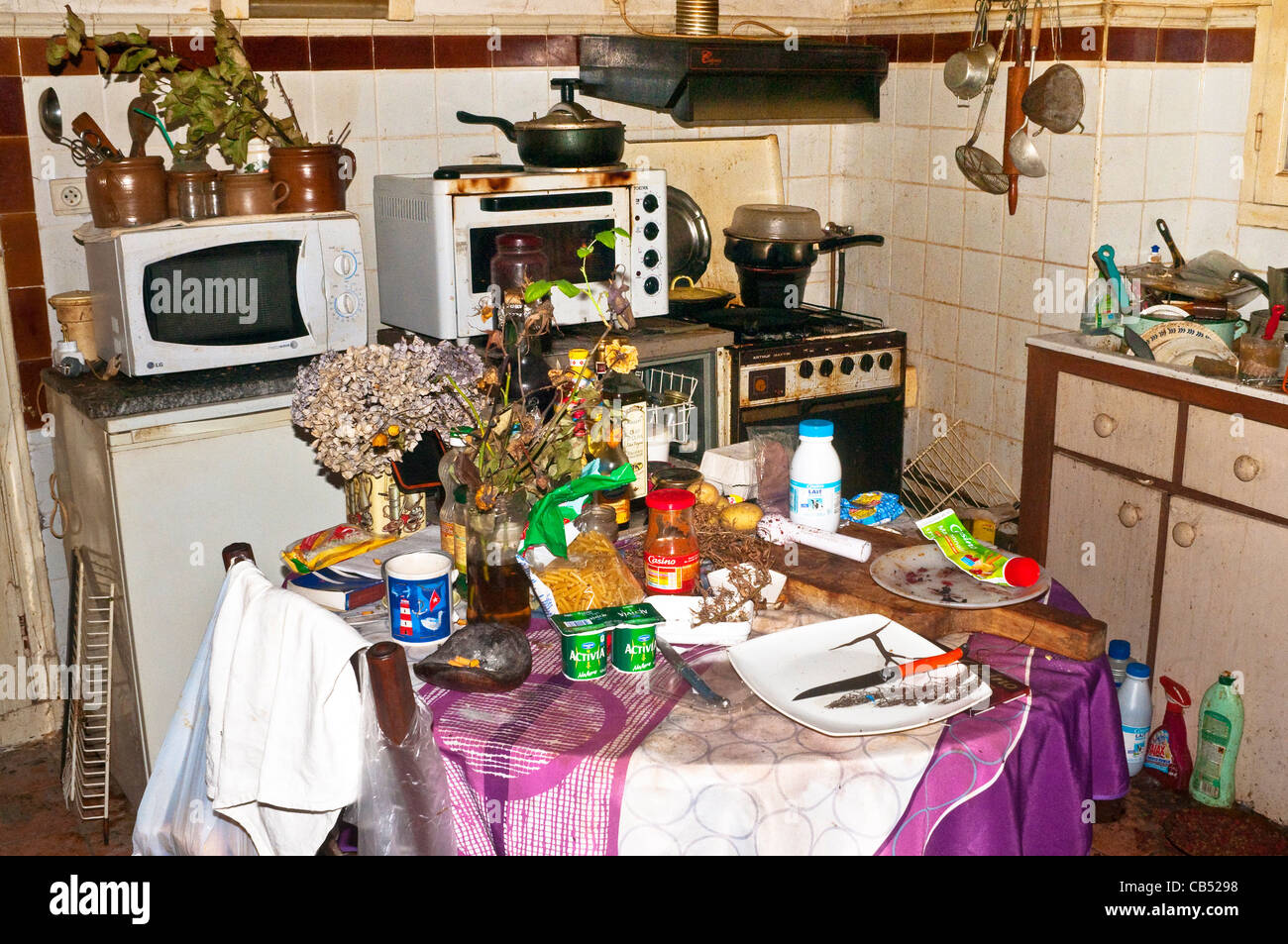 Disgusting domestic slum living conditions - France. - Stock Image