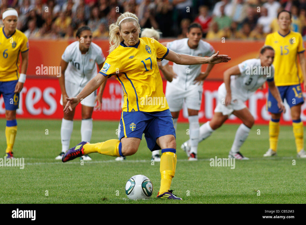 Lisa Dahlkvist of Sweden takes a penalty kick against the United States during a 2011 FIFA Women's World Cup - Stock Image