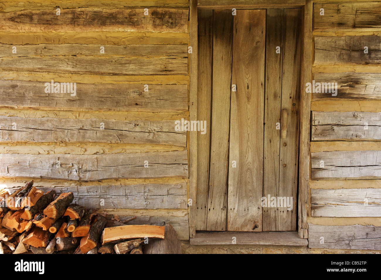 Pioneer Cabin Door And Stacked Firewood. Lincolnu0027s New Salem State Historic  Site, Illinois.