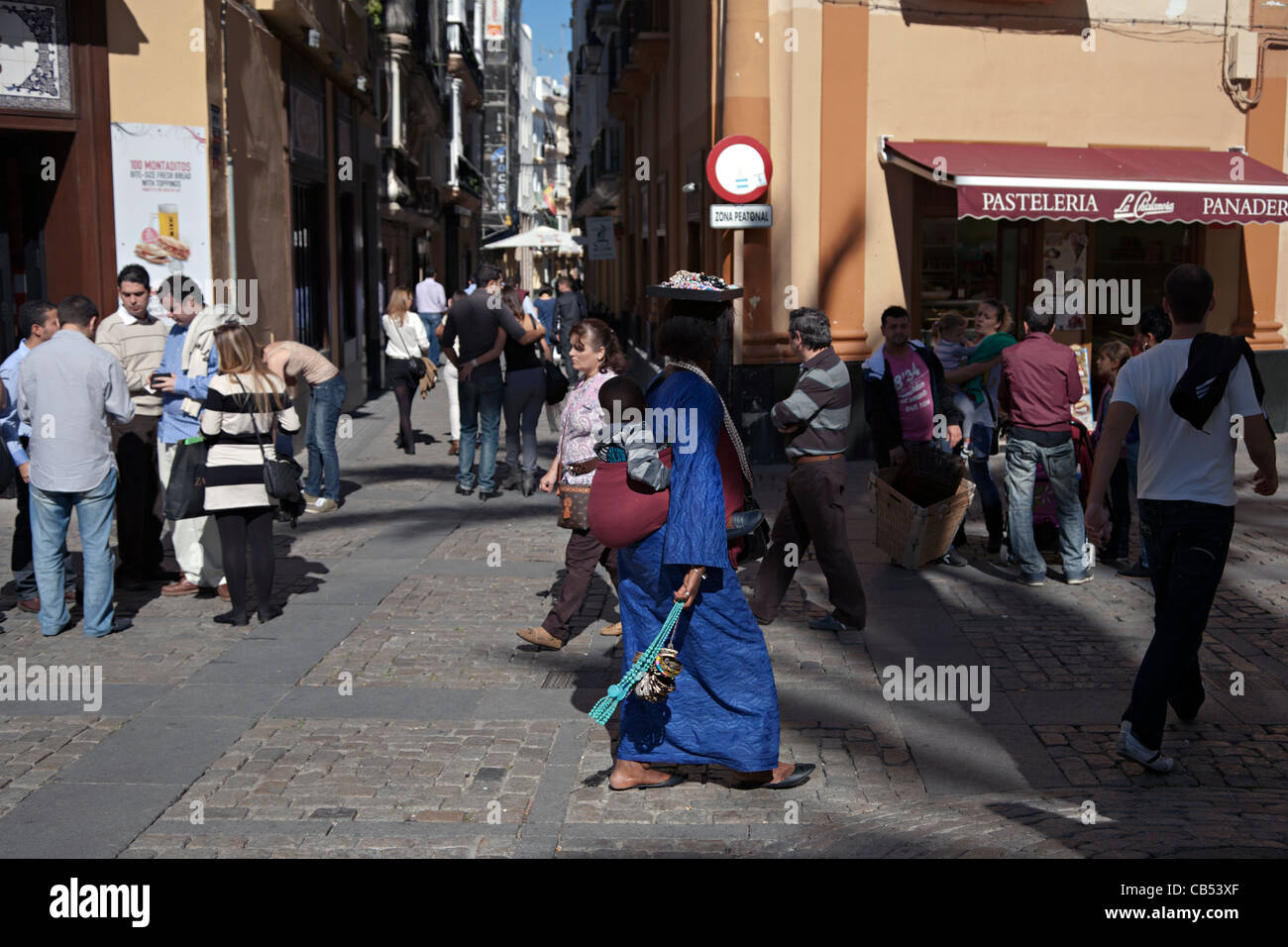 african woman with child cadiz spain - Stock Image