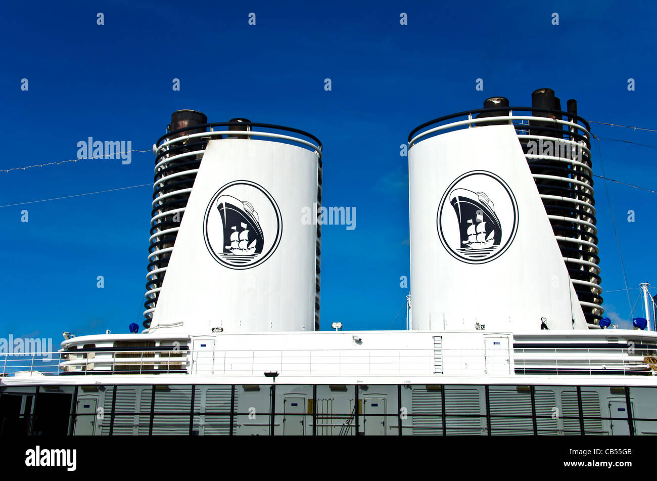 Holland America Westerdam Two Smoke Stacks With Ship Logo From Caribbean Cruise