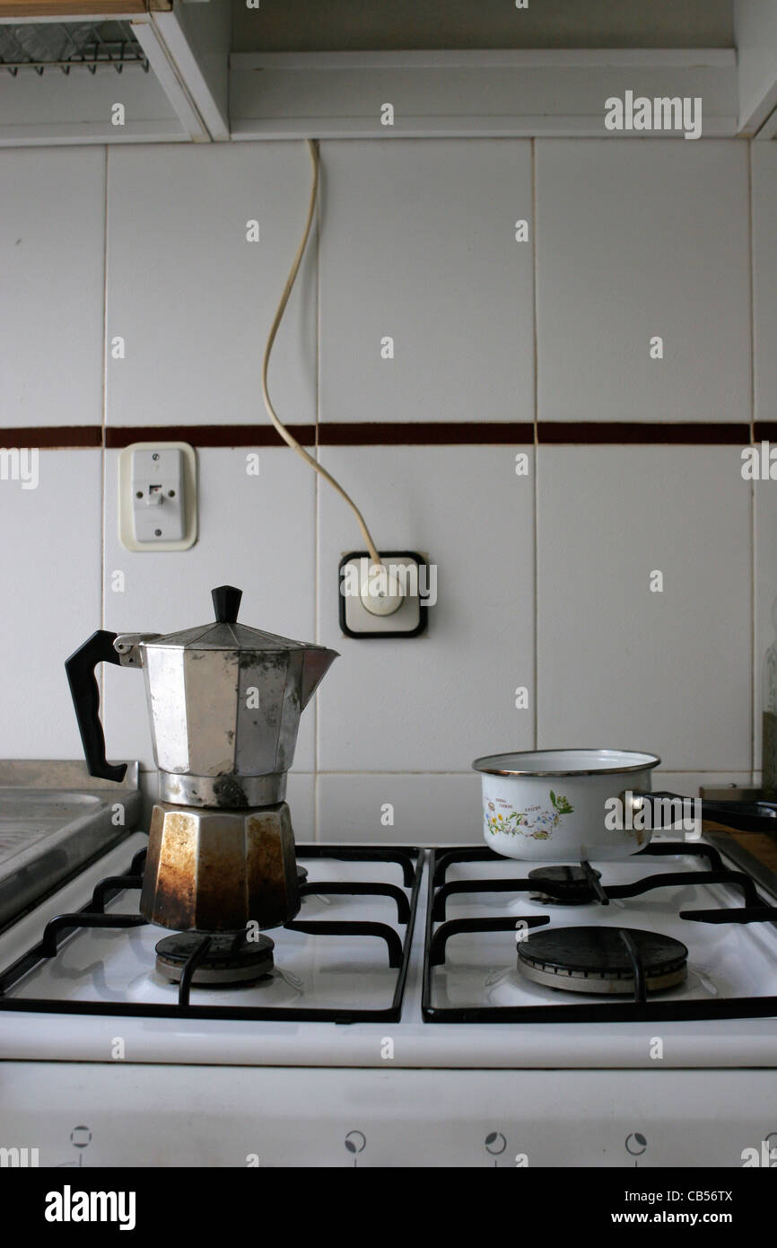Coffee pot in kitchen Stock Photo