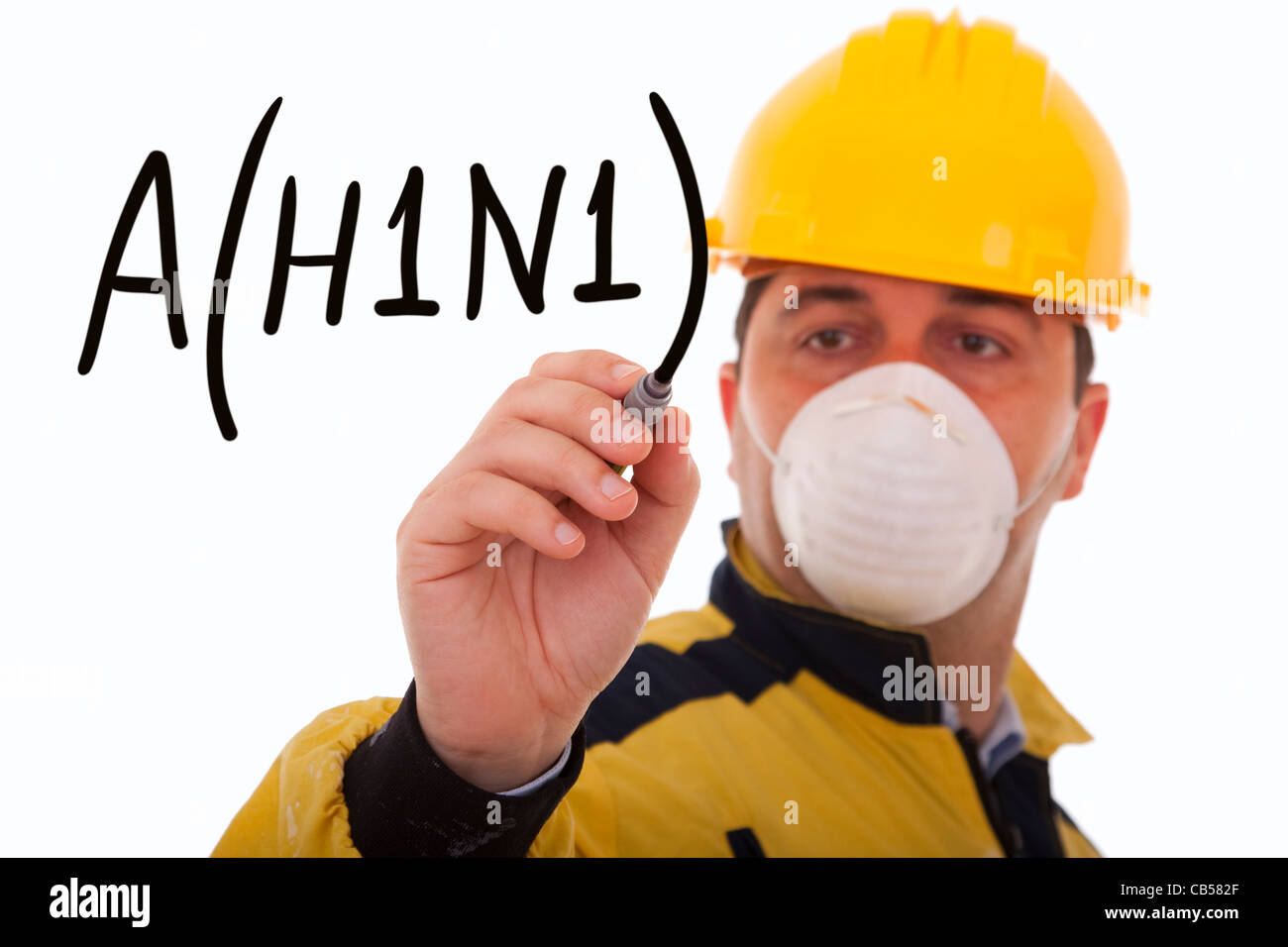 men writing a world alert for the swine influenza A(H1N1) (selective focus) Stock Photo