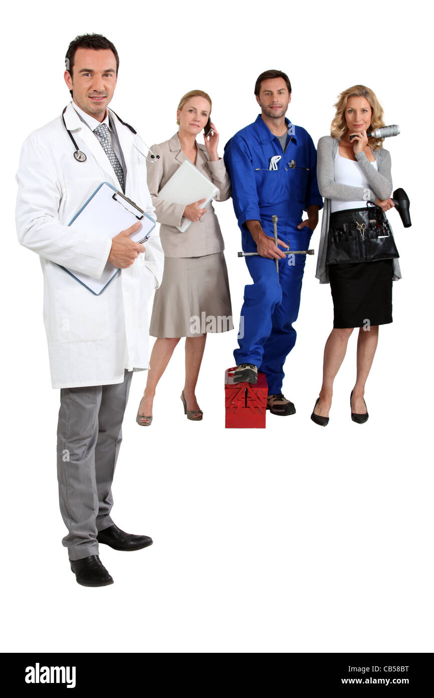 Doctor, mechanic, hairdresser and secretary. - Stock Image