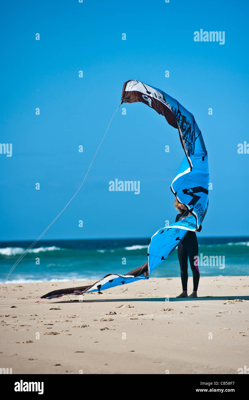 kiter surfer with sail, Tarifa, Andalusia, Spain - Stock Image