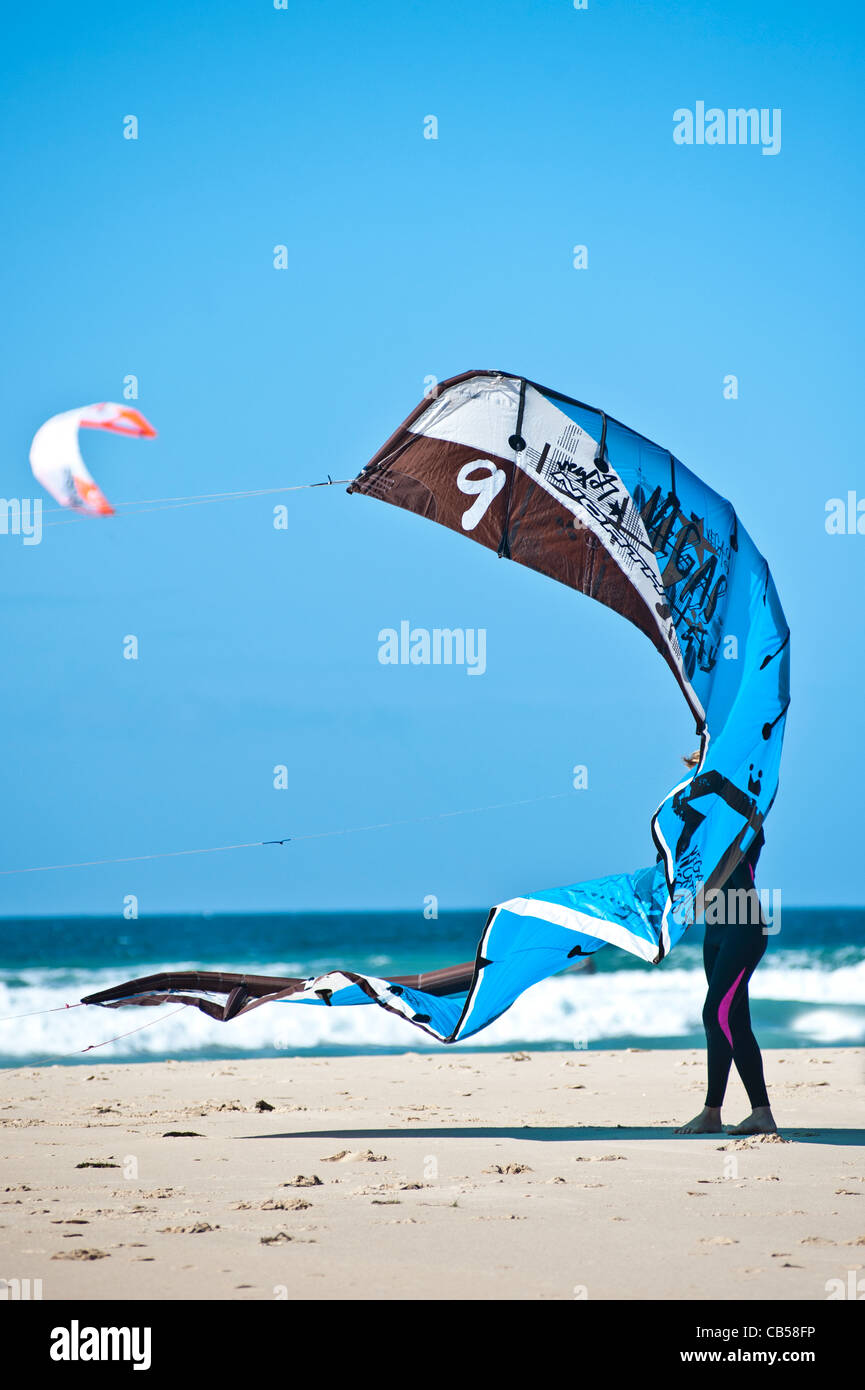 kiter surfer with sail, Tarifa, Andalucia, Spain - Stock Image