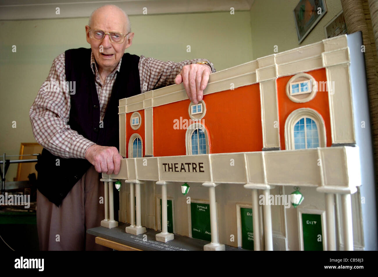 91 year old Ted Bayley from Worthing with a model of Brightton's Theatre Royal he has made to mark it's 200th birthday Stock Photo